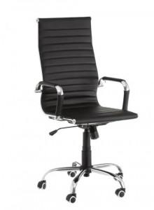 Scaun ajustabil negru din piele ecologica pentru birou Justine Black Unimasa