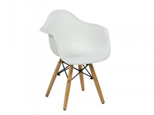 Scaun alb pentru copii din plastic ABS si lemn Alaina Santiago Pons