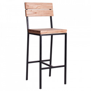 Scaun bar maro/negru din lemn si fier Nuxis Vical Home