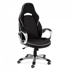 Scaun birou ajustabil alb/negru din poliuretan si plastic Speedy Furnhouse