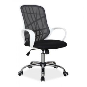Scaun birou ajustabil alb/negru din textil si metal Dexter Signal Meble