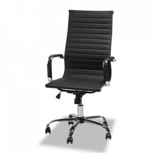 Scaun birou ajustabil negru din poliuretan si metal Designo High Furnhouse