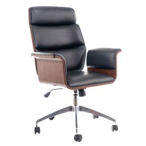 Scaun birou negru/maro ajustabil din piele si metal Obroto Signal Meble