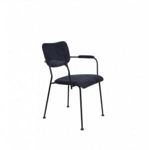 Scaun cu manere albastru inchis din catifea Benson Zuiver