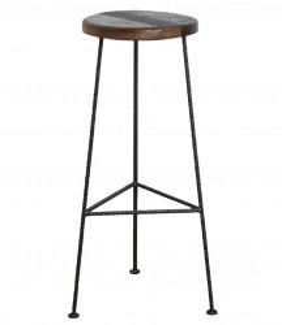 Scaun de bar maro/negru din lemn si otel Construction Raw Materials