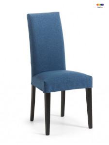 Scaun dining albastru din lemn de fag si textil Freia Dark  Blue La Forma