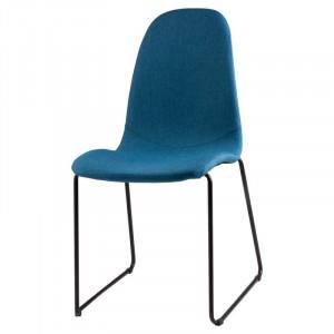Scaun dining albastru inchis din textil si otel Helena Dark Blue Somcasa