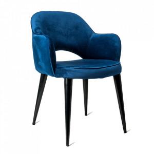 Scaun dining albastru/negru din catifea si metal Cosy Pols Potten