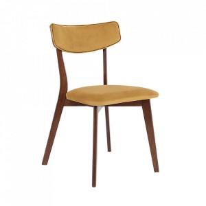 Scaun dining galben/maro din poliester si lemn Tone Custom Form
