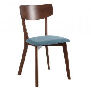 Scaun dining maro/albastru din lemn si poliester Alero Ixia