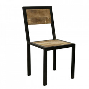 Scaun dining negru/maro din lemn de mango  si fier Vintage Raw Materials