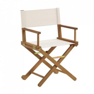 Scaun dining pliabil maro/bej din textil si lemn de salcam Dalisa Kave Home