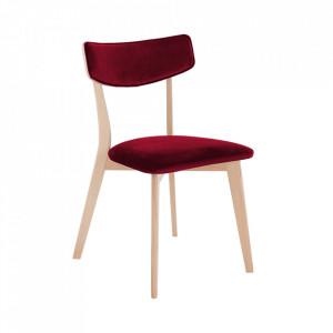 Scaun dining rosu merisor din poliester si lemn Tone Custom Form