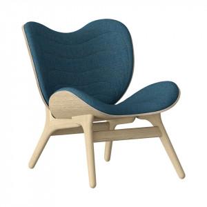 Scaun lounge albastru petrol/maro stejar din poliester si lemn A Conversation Piece Umage