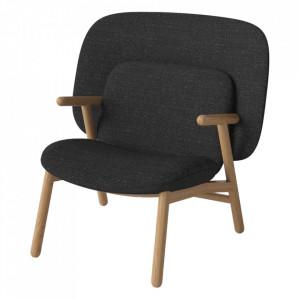 Scaun lounge gri antracit/maro din textil si lemn de stejar Cosh Bolia