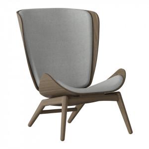 Scaun lounge gri argintiu/maro inchis din poliester si lemn The Reader Umage