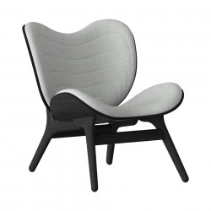 Scaun lounge gri argintiu/negru din poliester si lemn A Conversation Piece Umage