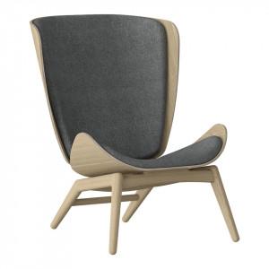 Scaun lounge gri/maro stejar din poliester si lemn The Reader Umage