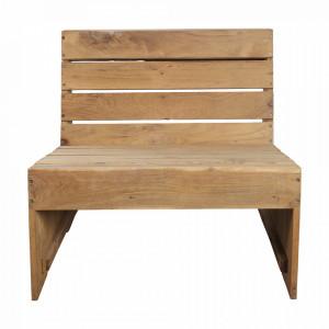 Scaun lounge maro din lemn de tec Woodie House Doctor