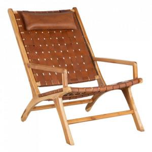 Scaun lounge maro din piele si lemn de tec Kiarma Denzzo