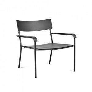 Scaun lounge negru din aluminiu August Serax