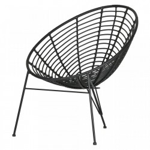 Scaun lounge negru din polietilena si metal Jane Woood