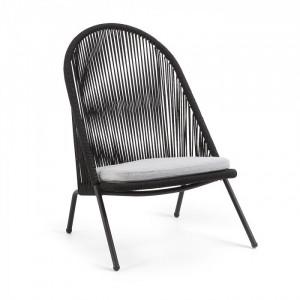 Scaun lounge negru din ratan pentru exterior Stad La Forma