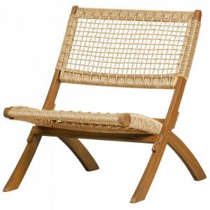 Scaun lounge pliabil maro din lemn de eucalipt si polietilena Lois Woood