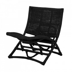 Scaun lounge pliabil negru din ratan Baz Bloomingville