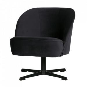 Scaun lounge rotativ albastru cerneala din otel si catifea Vogue Be Pure Home
