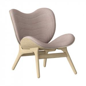 Scaun lounge roz prafuit/maro stejar din poliester si lemn A Conversation Piece Umage