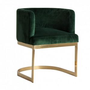 Scaun lounge verde/auriu din catifea si metal Betliar Vical Home