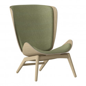 Scaun lounge verde/maro stejar din poliester si lemn The Reader Umage