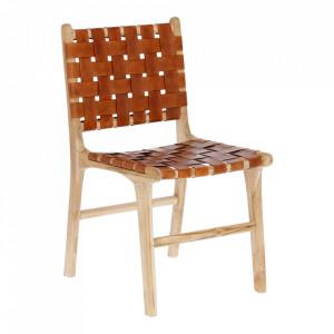 Scaun maro din piele si lemn Calixta La Forma