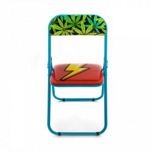 Scaun pliabil multicolor din metal si PVC Flash Seletti
