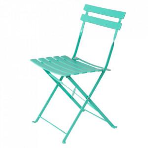 Scaun pliabil turcoaz din otel pentru exterior Sira Chair Unimasa