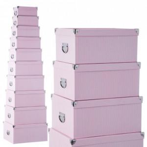Set 10 cutii cu capac roz din carton Lines Unimasa