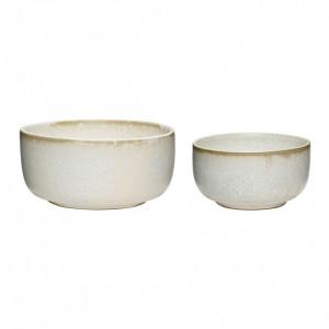 Set 2 boluri albe din ceramica Janey Hubsch