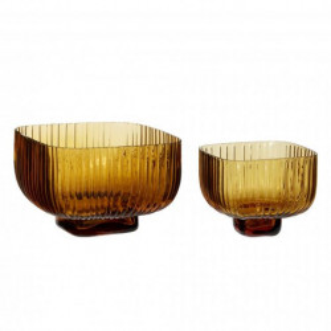 Set 2 boluri maro chihlimbar din sticla Augustina Hubsch