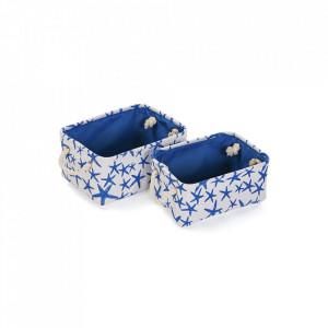 Set 2 cosuri albe/albastre din poliester Blue Sea Baskets Versa Home