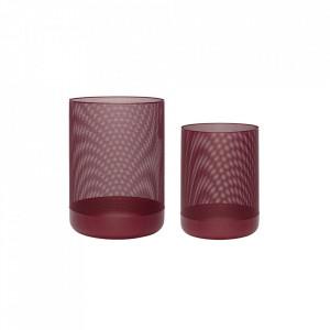 Set 2 cosuri de gunoi rosu bordo din metal pentru birou Bordeaux Basket Hubsch