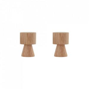 Set 2 cuiere maro din lemn de stejar Pin Small Oyoy