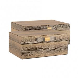 Set 2 cutii cu capac aurii din poliuretan si MDF pentru bijuterii Balou Richmond Interiors