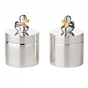 Set 2 cutii cu capac din metal argintat Duck Edzard