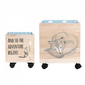 Set 2 cutii multicolore din lemn Adventure Bloomingville