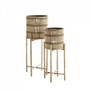 Set 2 ghivece cu suport maro din bambus si placaj Bamboo Natural Madam Stoltz