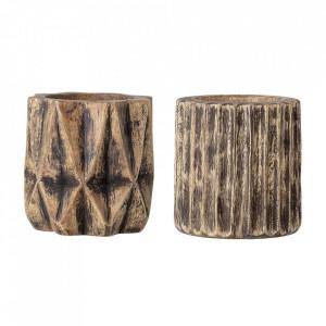 Set 2 ghivece decorative din lemn Nature Creative Collection