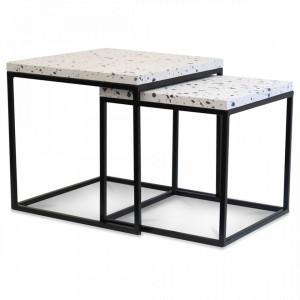 Set 2 masute negre/albe din metal si marmura Terrazzo Mini Opjet Paris
