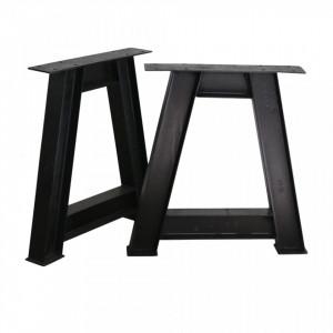 Set 2 picioare negre din fier pentru masa dining A-Frame Raw Materials