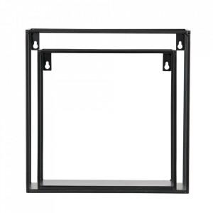 Set 2 rafturi negre din metal Cube Woood